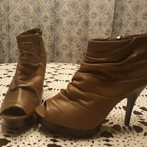 Beige open to bootie heels